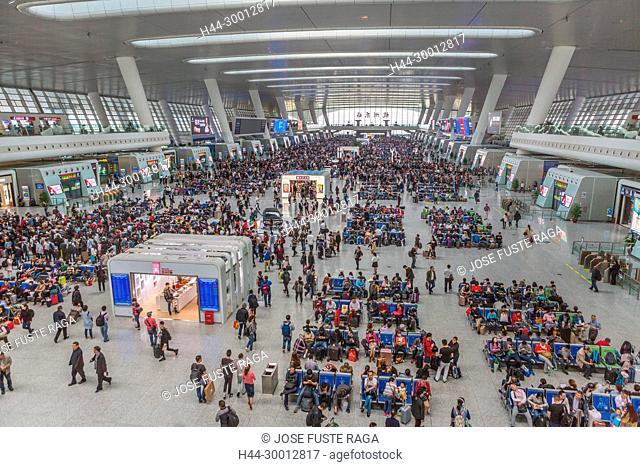 China, Zhejiang, Hangzhou City, East Hangzhou Railway Station, Waiting Hall