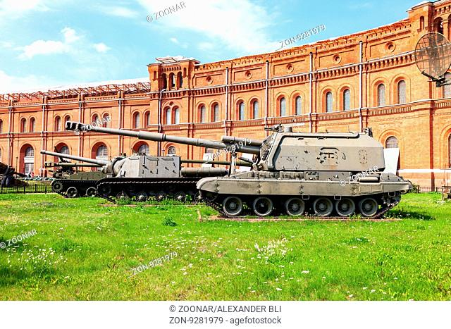 ST. PETERSBURG, RUSSIA - AUGUST 8, 2015: 152-mm self-propelled howitzer 2S19 Msta- S, mod.1989 in Museum of Artillery in summer sunny day