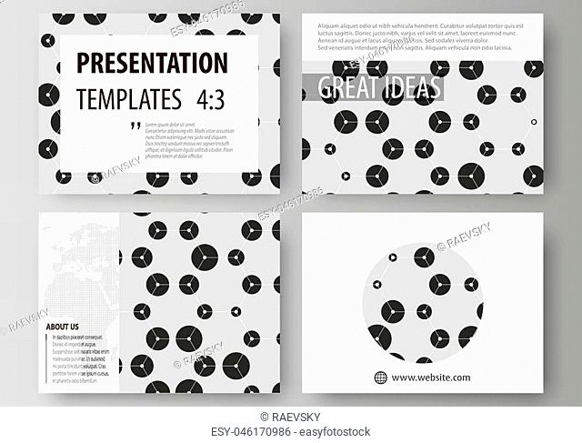 Set of business templates for presentation slides. Easy editable abstract vector layouts in flat design. Chemistry pattern, hexagonal design molecule structure