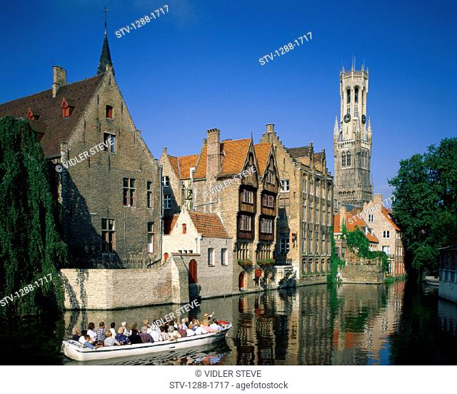 Architecture, Belgium, Europe, Boat, Brugge, Canal, Holiday, Landmark, Medieval, Tourism, Tourists, Travel, Vacation