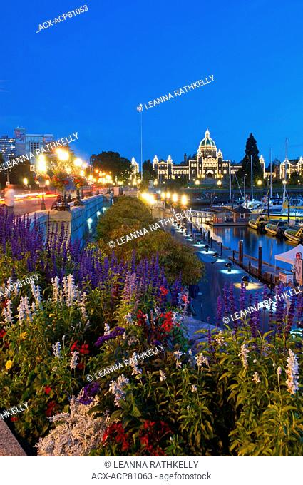 The Inner Harbour of Victoria is a picturesque walkway along the water, framed by the BC Legislative Assemby building and the Empress Hotel