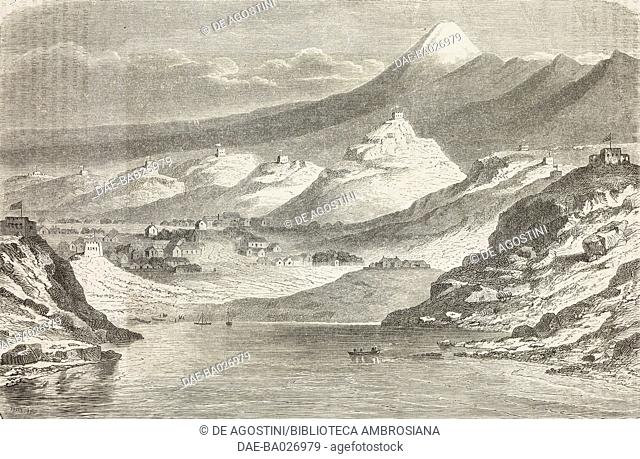 View of New Plymouth and Mount Taranaki or Egmont, from Travel in New Zealand (1858-1860) by Ferdinand von Hochstetter (1829-1884)