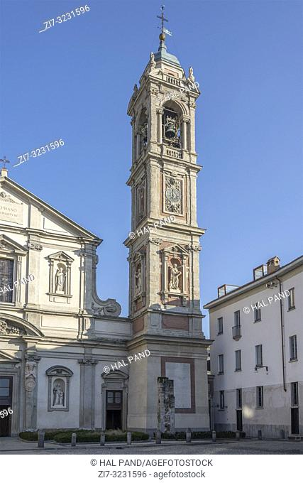 bell tower of saint Stefano old church in city center, shot in bright winter light at Milan, Lombardy, Italy