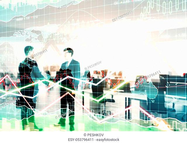 Handshake on abstract blurry office background with forex chart. Teamwork and money concept. Double exposure