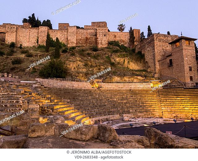 Roman Theater and Citadel at dusk, Malaga Costal del Sol. Andalusia, Spain Europe