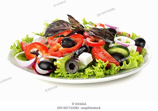 Diet vegetable salad isolated on a white background