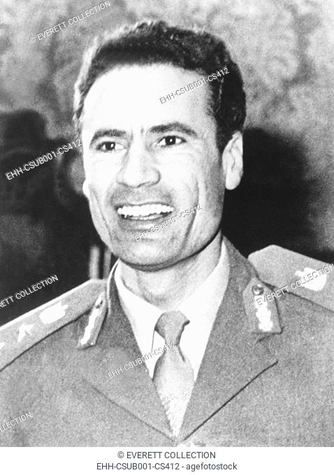 1974 photo of Muammar Gaddafi who assumed power in Libya after 1969 coup d'etat. He ruled as 'Revolutionary Chairman of the Libyan Arab Republic' from 1969 to...