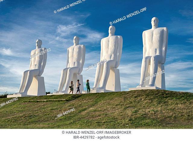 Huge sculptures, Mennesket ved Havet, by Svend Wiig Hansen, 1995, landmark of Esbjerg, Esbjerg, Region of Southern Denmark, Denmark
