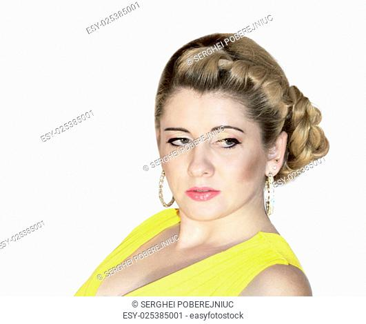 portrait of the young and beautiful woman in the yellow