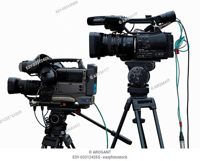TV Professional studio digital video cameras isolated on white background