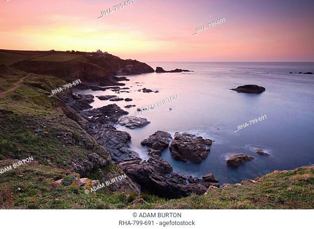 Lizard Point and Polpeor Cove at dawn, Lizard Peninsula, Cornwall, England, United Kingdom, Europe