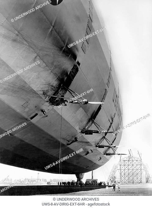 Mountain View, California, 1933 A U.S. Navy dirigible is at rest at Moffett Field. while Hangar One can be seeing under construction in the background