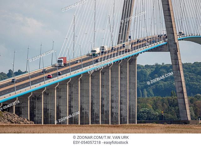 Pont de Normandie, bridge crossing river Seine near Le Havre in France