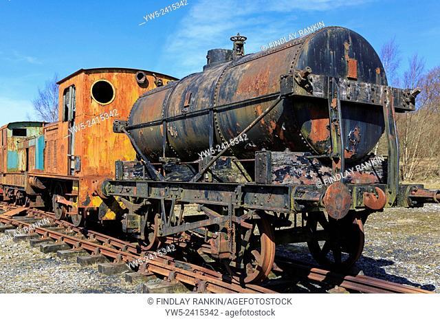 Disused old steam trains, lying rusting in a railway siding, Ayrshire, Scotland
