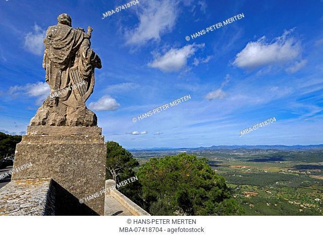 Monks statue in front of Santuario San Salvador on the Puig de Sant Salvador at Felanitx, Mallorca, Baleares, Spain