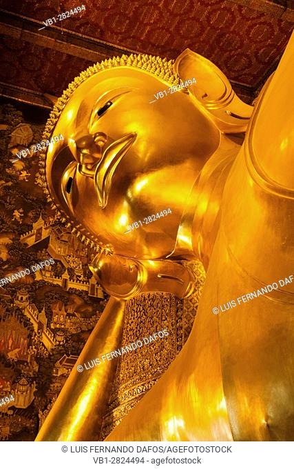 Detail of the head of the Reclining Buddha at Wat Pho temple, Phra Nakhon District, Bangkok, Thailand, Southeast Asia