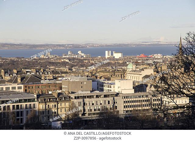 Panorama of the city from the castle Edimburgh old town on January 2018 Scotland UK