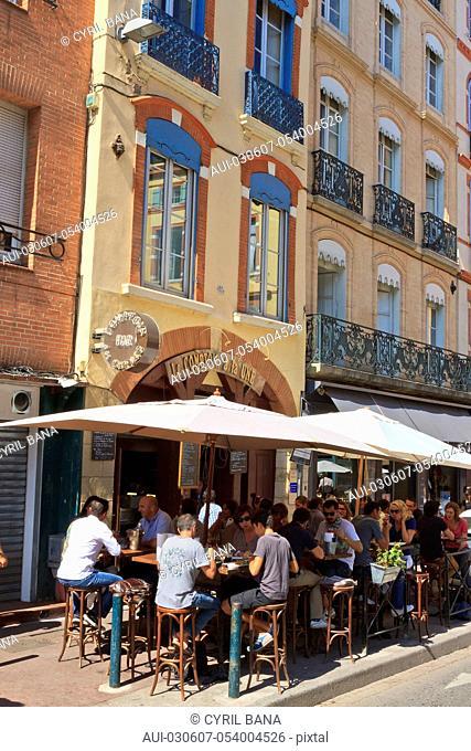 France, Toulouse, [Rue des Filatiers], cityscape, cafe