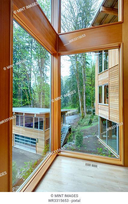 Glass windows of modern house