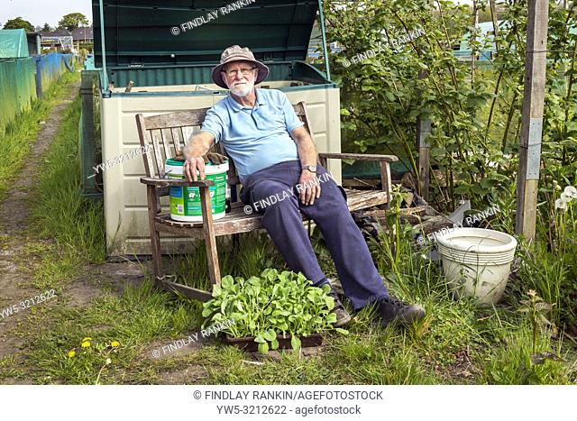 Charlie Muir, Plot 80, Eglinton Gardens, Eglinton Growers Allotments, Kilwinning, Ayrshire, Scotland, UK