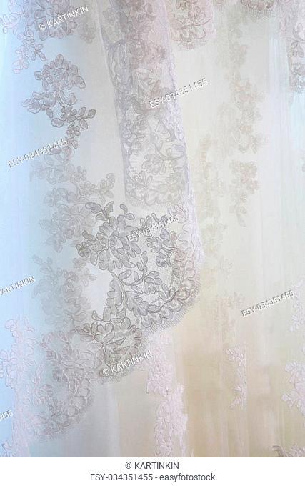 Lace ornament on a bride's veil