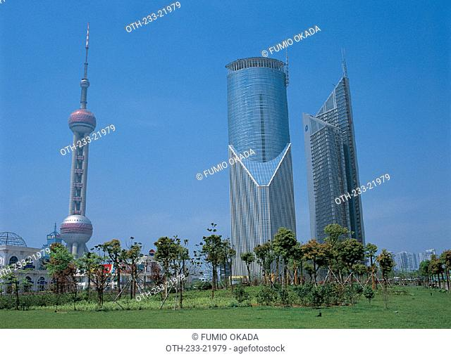 Buildings in Pudong, Shanghai, China