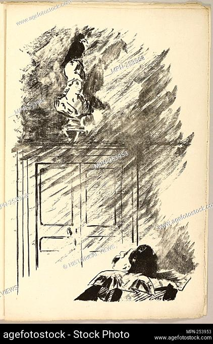 """The Raven on the Bust of Pallas (""""""""Perched upon a bust of Pallas.""""""""), from The Raven (Le Corbeau) - 1875 - Édouard Manet (French"""