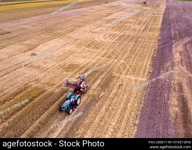01 August 2020, Schleswig-Holstein, Lübeck: A swath mower is used to mow and bind yarrows of straw when harvesting rye straw for the production of drinking...