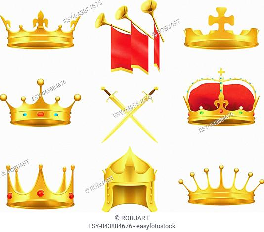 Golden ancient crowns and swords set on white. Vector illustration of caps made of gold with and without precious stones