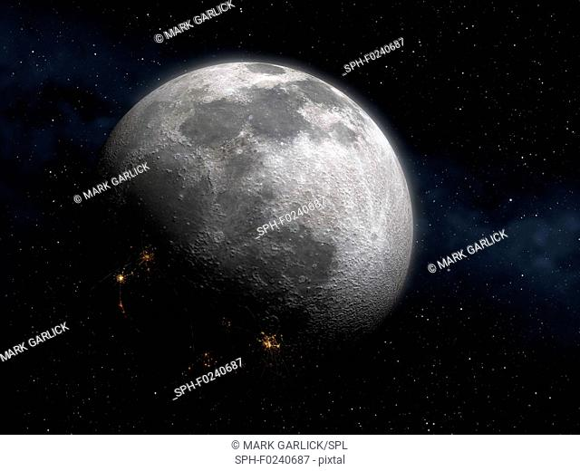 Colonising the Moon. The face of the Moon seen from Earth, with cities seen on the night side
