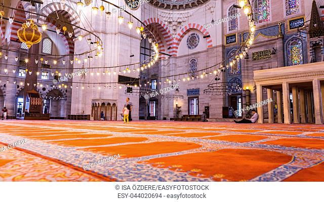 Interior detail view of of Suleymaniye mosque, largest mosque of Istanbul was built in 1550-1580 by design of the chief Ottoman architect Mimar Sinan