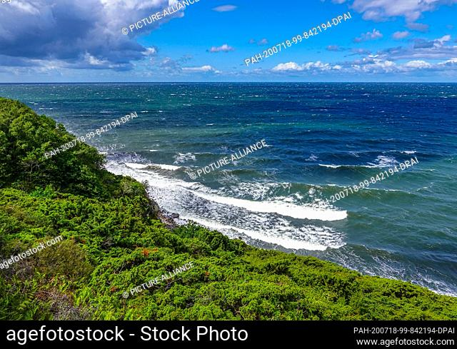 06 July 2020, Denmark, Vang: The west coast of the Danish Baltic Sea island near the small fishing village Vang. The island of Bornholm is