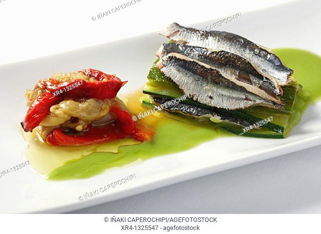 Lasaña de sardinas con escalibada y salsa de guisantes, CEBANC, San Sebastian, Donostia, Gipuzkoa, Guipuzcoa, Basque Country, Spain