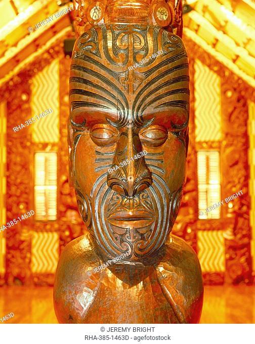 Maori statue with 'Moko' facial tattoo, New Zealand, Pacific