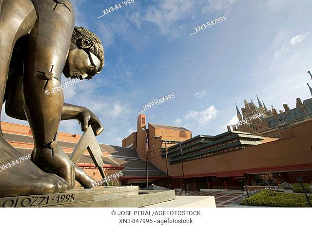 Statue of Newton by Eduardo Paolozzi 1995, the British Library, London, England, United Kingdom, Europe