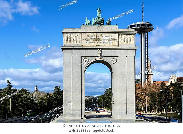 View of the Arco de la Victoria in Moncloa quarter, Madrid city, Spain