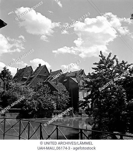 Altstadthäuser in Hildesheim, Deutschland 1930er Jahre. Old city houses at Hildesheim, Germany 1930s