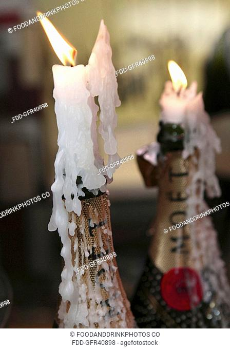 Champagne Bottles with Candles