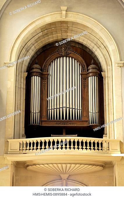 France, Pas de Calais, Lens, St Leger Church, organ above the entry