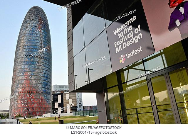 Right: Disseny Hub Barcelona, Design Hub Barcelona, DHUB, made by MBM Arquitectes. Left: Agbar Tower designed by French architect Jean Nouvel