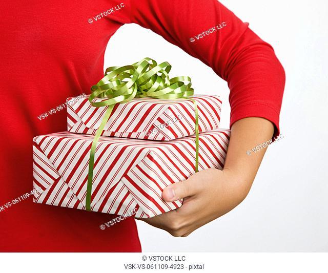 USA, Illinois, Metamora, Woman holding gifts