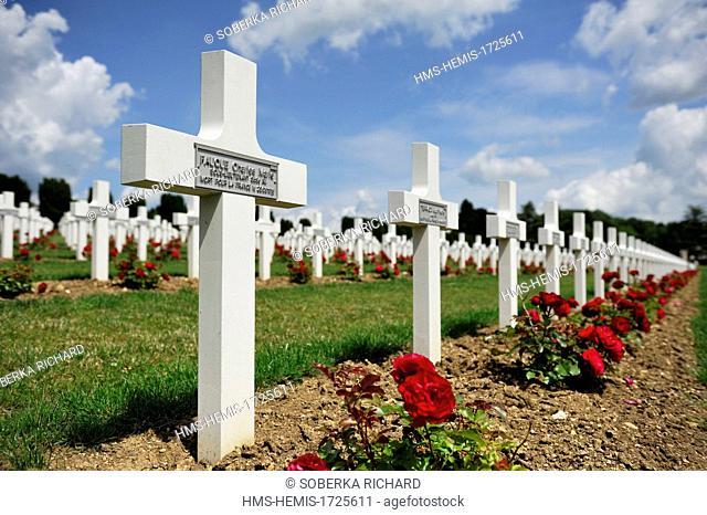 France, Meuse, Douaumont, battle of Verdun, ossuary of Douaumont, national necropolis, roses planted among aligned graves