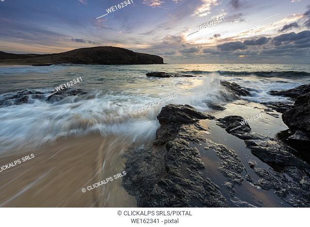 Los Papayao beach at sunrise, Lanzarote, Canary island, Spain, Europe