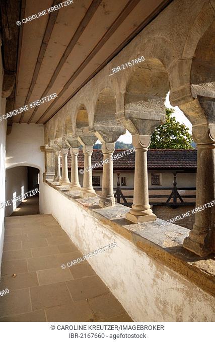 Romanesque arcades, Comburg Benedictine Abbey, Grosscomburg, Steinbach near Schwaebisch Hall, Baden-Wuerttemberg, Germany, Europe