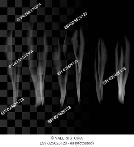 Smoke Set on Checkered Background. Delicate White Cigarette Smoke Waves on Transparent Background