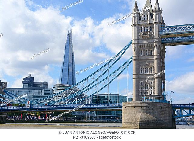 Partial view of the Tower Bridge over the River Thames. We can also see the City Hall and The Shard. London, England, Great Britain, Europe