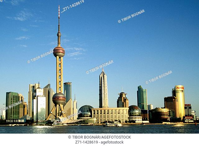 China, Shanghai, Pudong, skyline, skyscrapers, business district