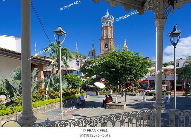 View of Parroquia de Guadalupe (Church of Our Lady of Guadalupe) in Downtown, Puerto Vallarta, Jalisco, Mexico, North America