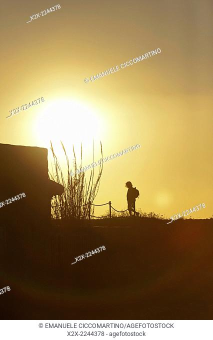 Sunset, Es Codolar Boulder beach, Eivissa, Ibiza, Balearic Islands, Spain, Mediterranean, Europe