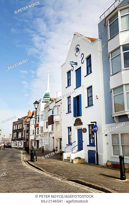 Portsmouth Sailing Club and cobbled street of Old Portsmouth